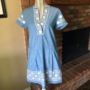 Madewell Sunstitch Chambray Embroidered Dress S